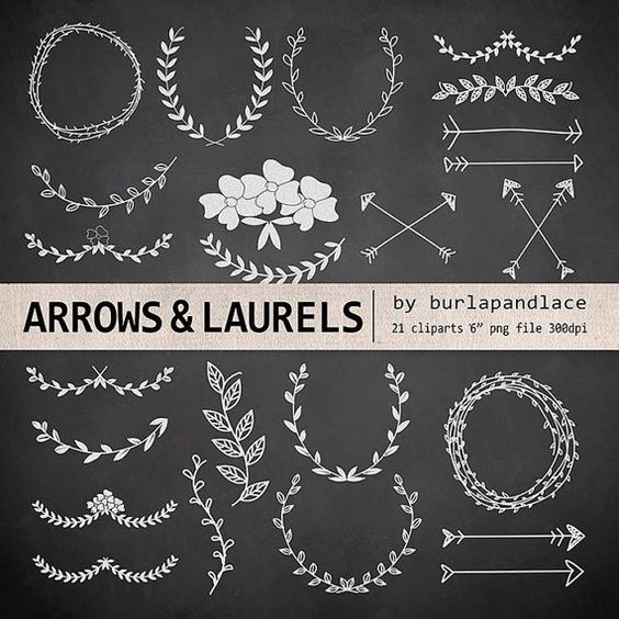Hand Drawn clipart laurels and arrows chalkboard by 1burlapandlace, $4.99