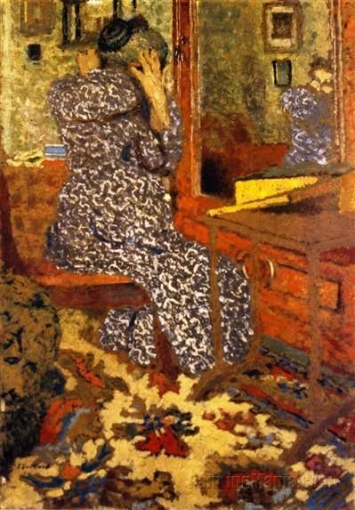 VUILLARD, Mme Vuillard arranging her hair in front of the mirror, 1900