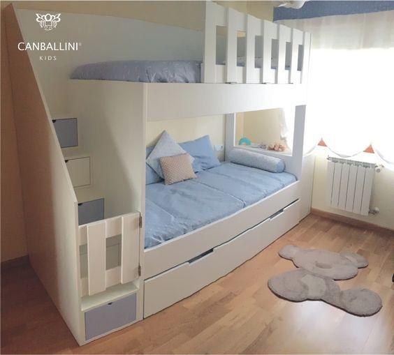 Litera de camas paralelas para 3 ni as y o ni os a partir de 5 a os para colch n de 190 por 90 - Literas para habitaciones pequenas ...