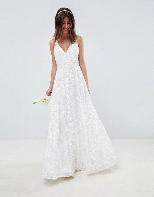 Asos Edition Asos Edition Sequin Cami Wedding Dress Asos Wedding Dress Second Wedding Dresses Wedding Dress Sequin