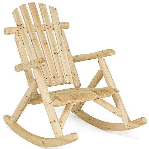 Log Rocking Chair Wood Single Porch Rocker Lounge Patio Deck Furniture Natural Rustic Rocking Chairs Rocking Chair Porch Patio Deck Furniture