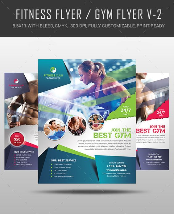 Fitness Flyer \/ Gym Flyer V7 by Satgur Design Studio on - fitness flyer