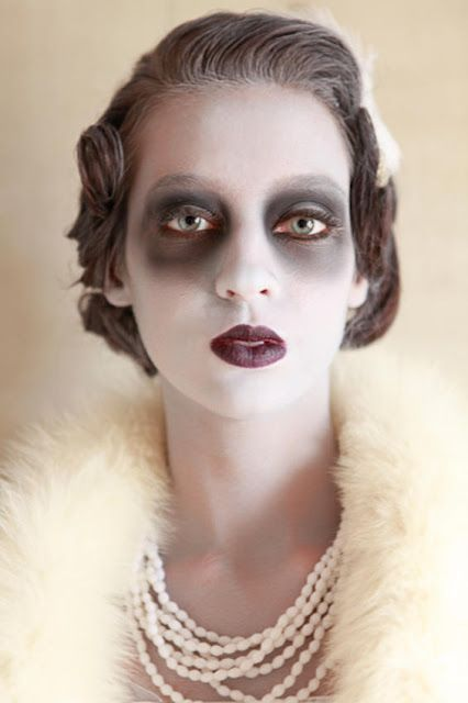 Halloween Costume mixed with a love of vintage: ghost makeup and dark lips with vintage clothing and accessories. Pretty lovely and creative.: