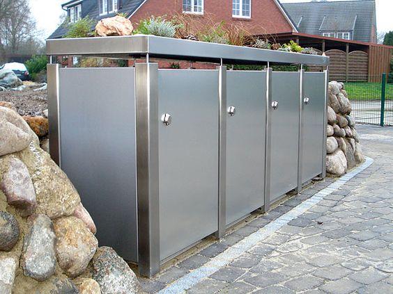 Edelstahl - Vorteile & Eigenschaften Wir verwenden Edelstahl sehr gerne für die Fertigung von Mülltonnenboxen, Geländern oder Klein-Garagen. Denn dieses Material ist wetterfest, verfügt über eine lange Lebensdauer und ist rostfrei. Ein weiterer Vorteil: Edelstahl sieht einfach nobel und hochwertig aus. #Mülltonnenbox #Mülltonnenhaus #Edelstahl