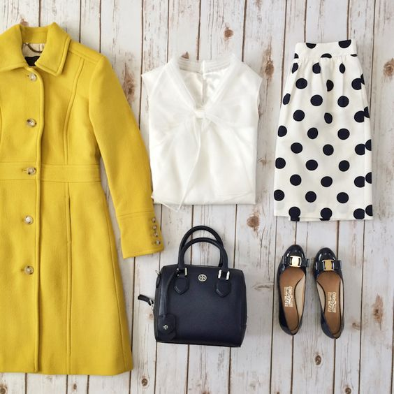 Jcrew Lady Day Coat, bowknot organza top, polkadot skirt, Ferragamo Vara pumps