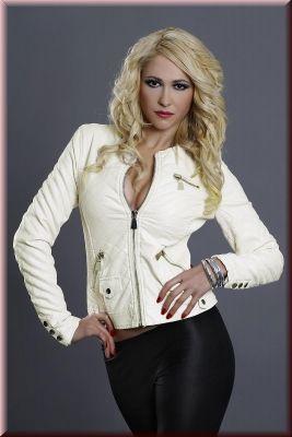 Creme Farbene Lederimitat Jacke mit Steppoptik