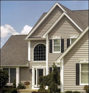 Vinyls nice and brown on pinterest for Tan siding shutter color combinations