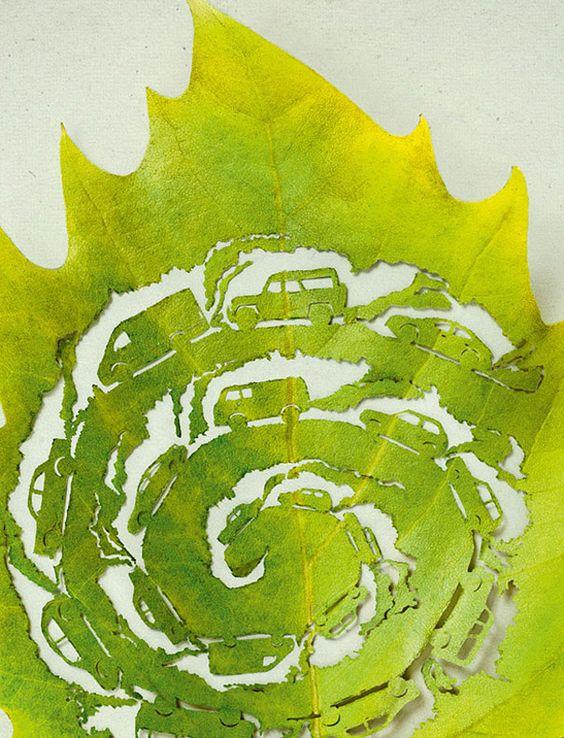 Folhas recortadas / Intricate Leaf Art Promotes a Green Planet, Lorenzo Duran - My Modern Metropolis