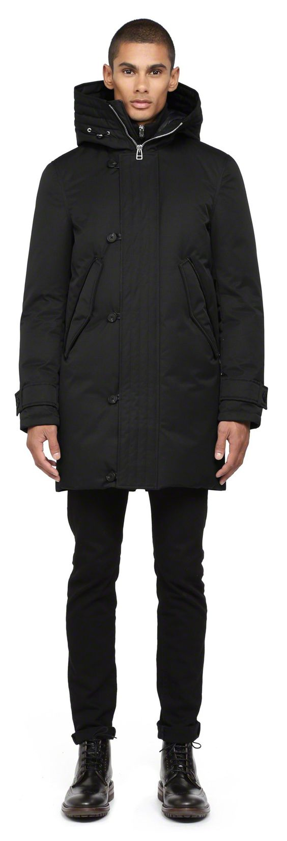 Mackage - SLOAN BLACK LONG DOWN PARKA COAT FOR MEN WITH HOOD ...