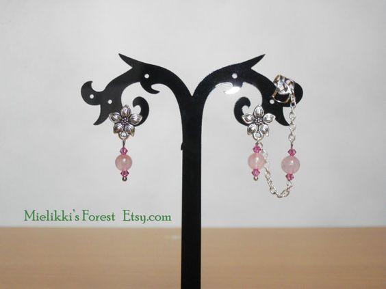 Ear cuff set with Rose Quarzt beads Swarovski par MielikkisForest