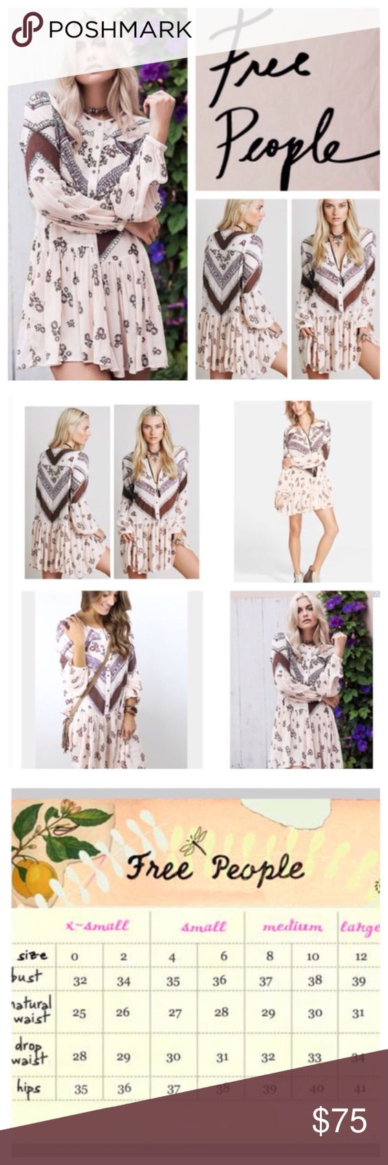 """Free People From Your Heart Floral Mini.  NWT. Free People From Your Heart Printed Floral Mini Dress, 100% rayon, washable, 20.5"""" armpit to armpit (41"""" all around), 19"""" arm inseam, 33"""" length, long sleeve, printed smock mini, button front closure, button cuffs, dropped waist, hip pockets, measurements are approx.  NO TRADES Free People Dresses Mini"""