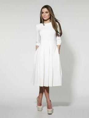 cheaper 86ae3 a0487 Elegante weiße MIDI Kleid formale Pleated Wedding von ...