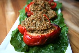 the Non-Dairy Queen: Sorghum Lentil Stuffed Peppers (and Burgers): Burgers Dairyfree, Dairy Queen, Healthy Eating, Burgers Meatless, Healthy Food, Meatless Monday, Healthy Shit, Foodie Ideas, Healthy Tomorrow