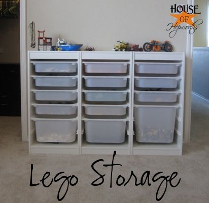 Easy LEGO storage system via @House of Hepworths: Easy Lego Storage, Ikea Lego Storage, Awesome Lego, Kids Room, Storage System, Brick Enthusiast, Lego Organization, Storage Solution, Lego Storage Ideas Organizers