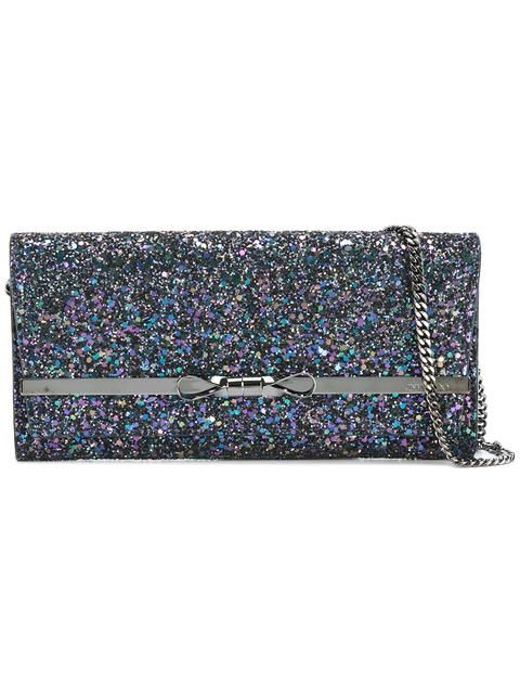 JIMMY CHOO Glitter Clutch. #jimmychoo #bags #polyester #clutch #metallic #shoulder bags #hand bags #glitter #cotton #