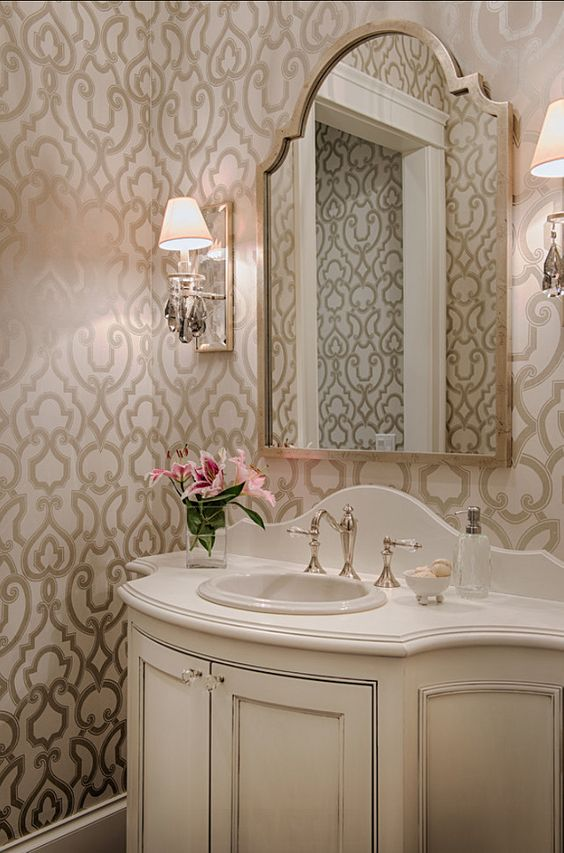 Powder rooms powder and wallpapers on pinterest for Pinterest bathroom wallpaper