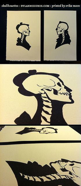 Skullhouettes screenprint