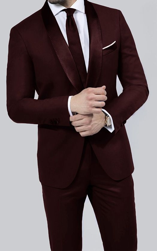 Mens fashion: 3 piece navy suit, burgundy tie, paisley pocket