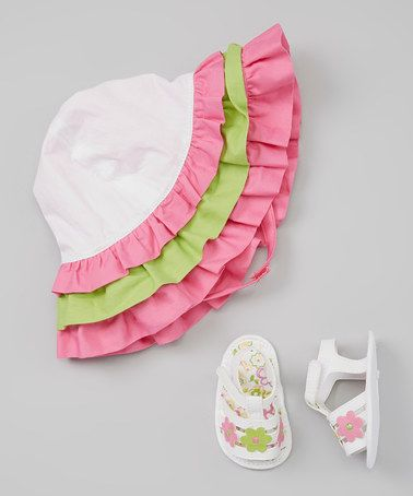 Love this Lime & Fuchsia Ruffle Hat and Sandals by Baby Deer on #zulily! #zulilyfinds