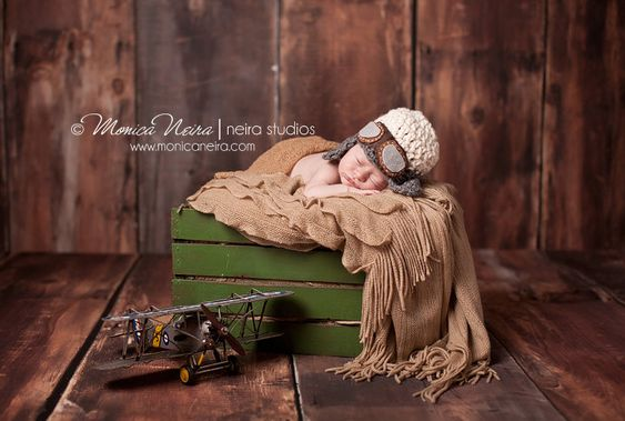 baby pilot hat-newborn aviator hat-chinstrap hat-earflap hat-crochet knit hat-newborn photo prop, via Etsy.