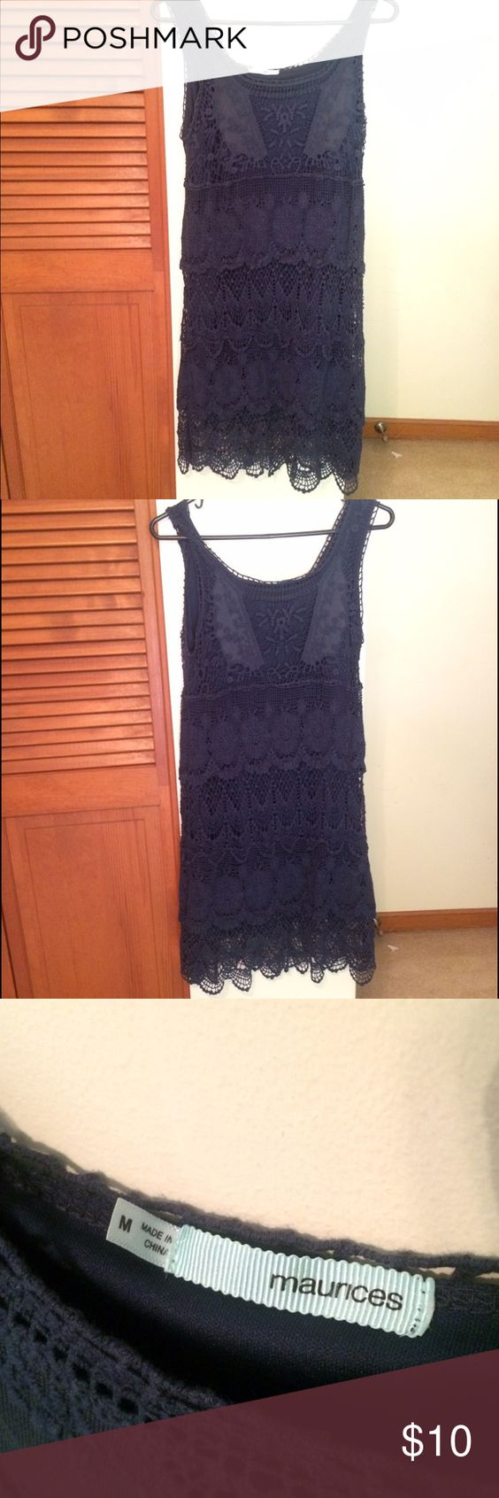 Navy dress gorgeous crocheted dress. Never worn Dresses