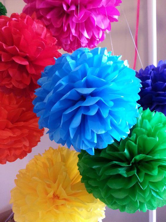 Jeu de pompons de papier de soie de 16 décor Fiesta par PomGarden
