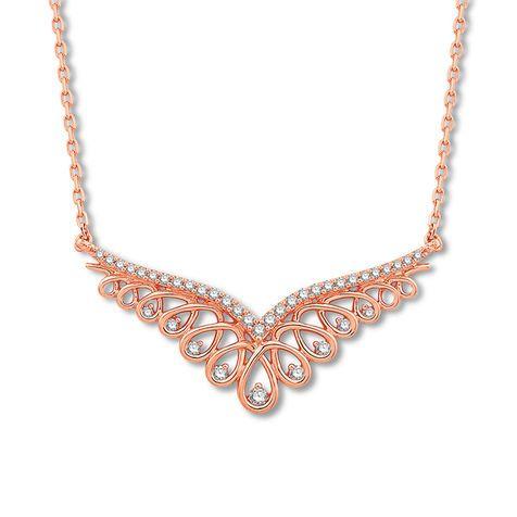 929 Kay Emmy London Diamond Necklace 1 4 Ct Tw Round 10k Rose Gold Diamond Necklace Diamond Necklace