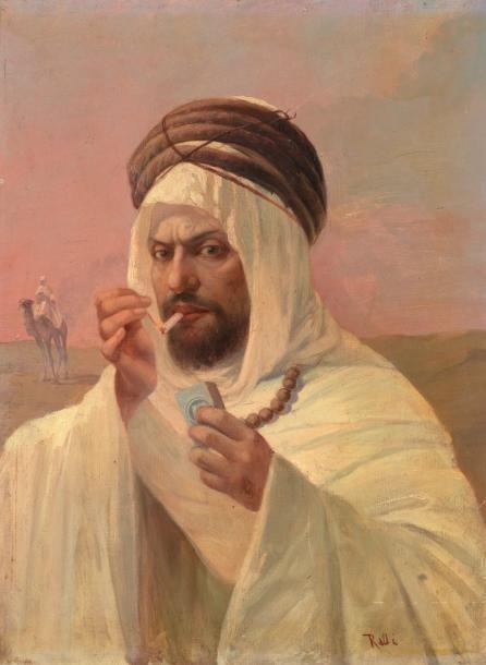 Portrait D Un Caid Algerien Peinture Tunisienne Art Historique Peinture Orientaliste