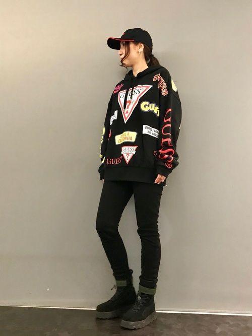 kazuyo royal flash 池袋 guessのパーカーを使ったコーディネート wear ファッション パーカー ファッションコーディネート