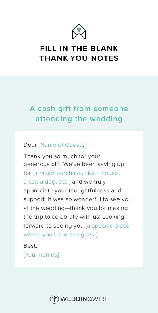 Thank You Message For Wedding Gift Money : Wedding Thank You Note Template - thank you note template for a cash ...