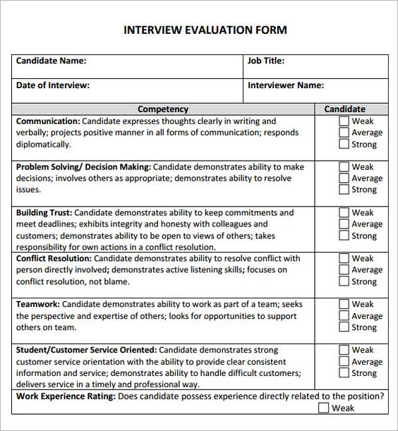 9 best INTERVIEW EVALUATIONS images on Pinterest Interview - candidate evaluation form