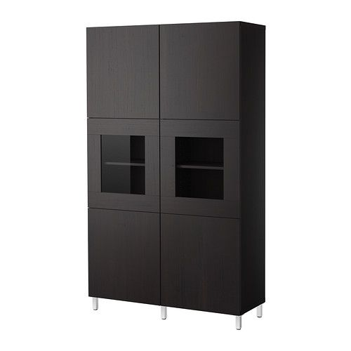 Best storage combination with glass door black brown for Ikea entertainment cabinet