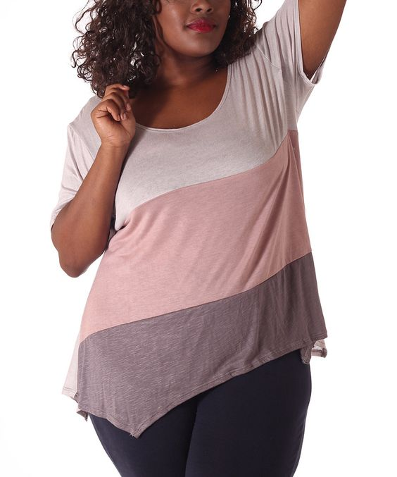 Look what I found on #zulily! Gray Heather & Pink Color Block Handkerchief Tee - Plus by Hot Ginger #zulilyfinds