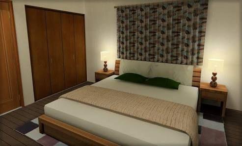 6畳の主寝室でのダブルベッドのレイアウト ベッドルーム レイアウト 寝室 レイアウト 6畳 レイアウト