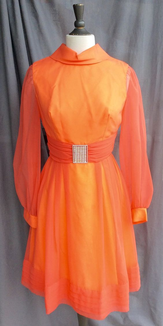 IRIDESCENT Sheer Orange Vintage Party Dress by RevivalVintageATX