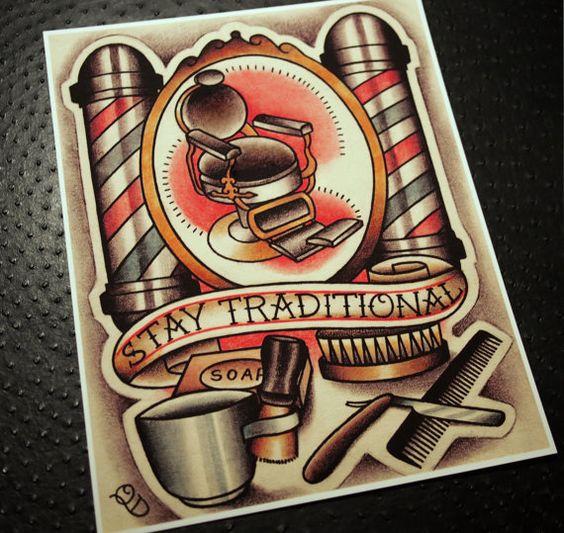 Stay Traditional Barbering Tattoo Art Print