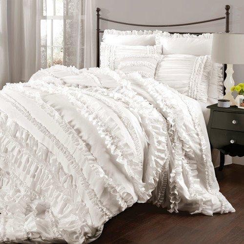 Girls White Ruffled Stripes Pattern Comforter Queen Set Modern