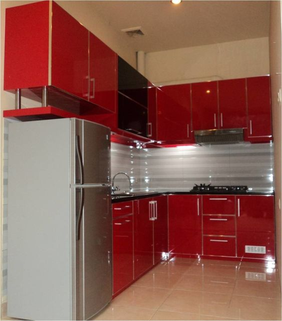 Red-Kitchen-Cabinet-Small-space-kitchen-decor-with-captivating ...