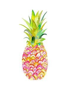 Pink Pineapple Watercolor Print. Pineapple Decor.