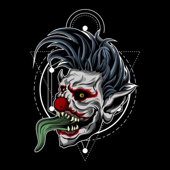 Zombie clown with sacred geometry Premium Vector | Premium Vector #Freepik #vector #background #halloween #man #character