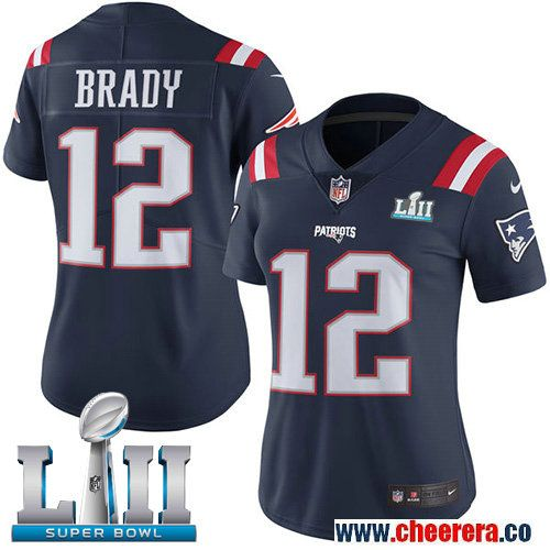 Nike Patriots 12 Tom Brady Navy Women 2018 Super Bowl Lii Color Rush Limited Jersey