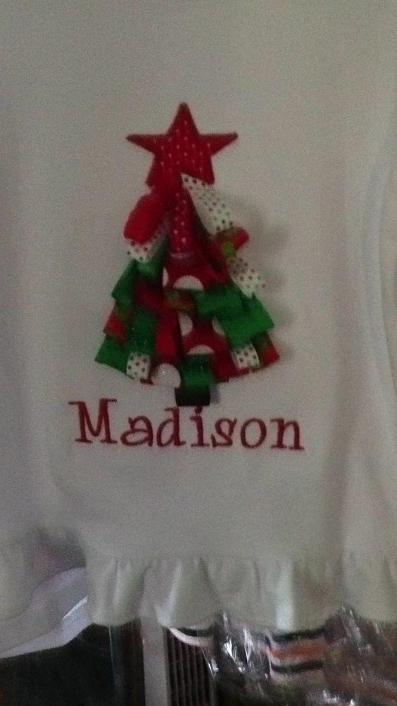 Ribbon Tree on a Ruffle LS Shirt www.facebook.com/pinkpiggieembroidery Pinkpiggieembroidery@gmail.com
