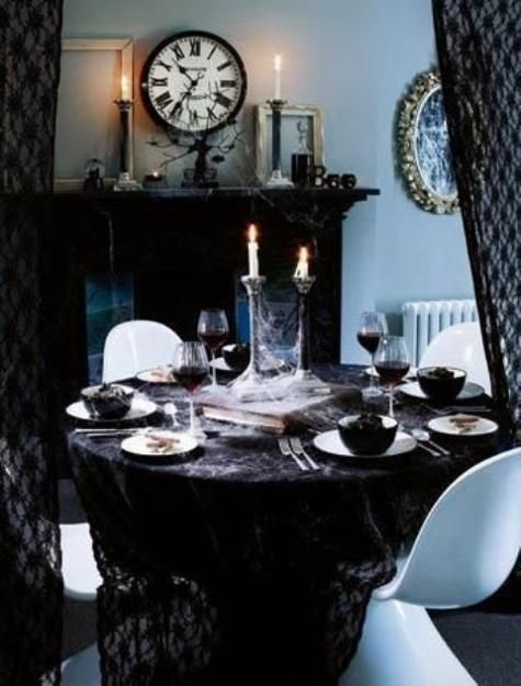 Midnight in the Garden of Good  Evil Halloween theme table from - elegant halloween decorations