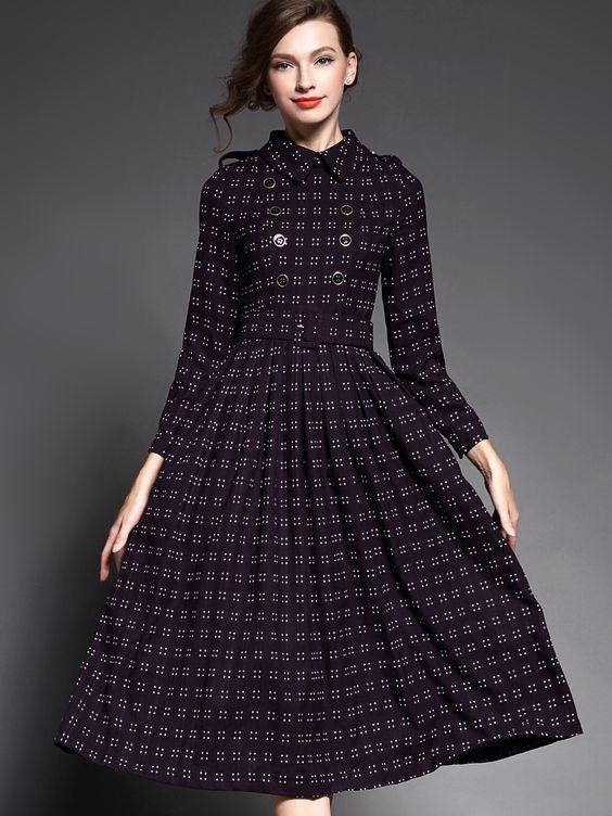 Shop Deep Red Lapel Long Sleeve Drawstring Dress