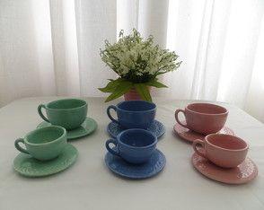 Xícaras de cafe tons pasteis(6 peças)