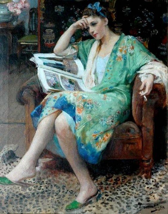 Herman Jean Joseph Richir (Belgian, 1866-1942 ) - Relaxing (An Interesting Read):