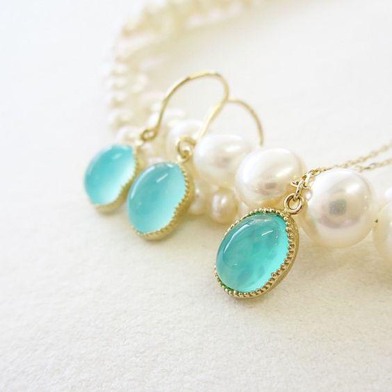 K10YG seablue chalcedony pierced earrings #tocca #japan