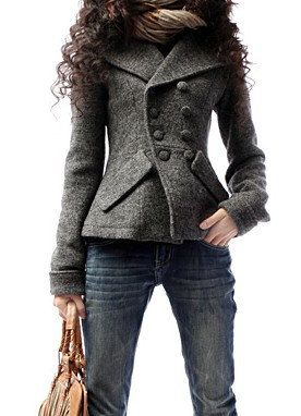 Grey wool women jacket wide lapel short women coat Sprign Autumn