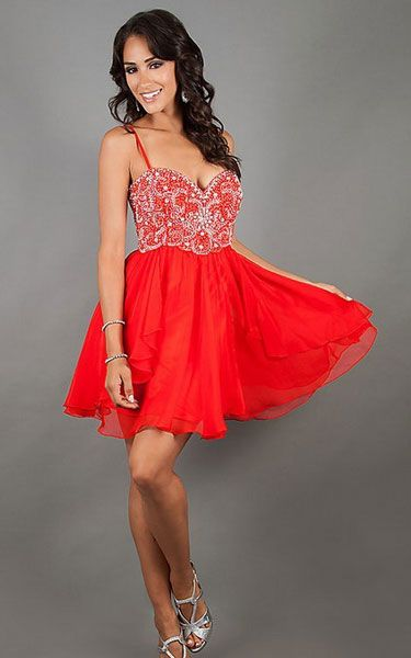 Strapless Red Short Party Dress by Dave and Johnny 10069 [Party ...