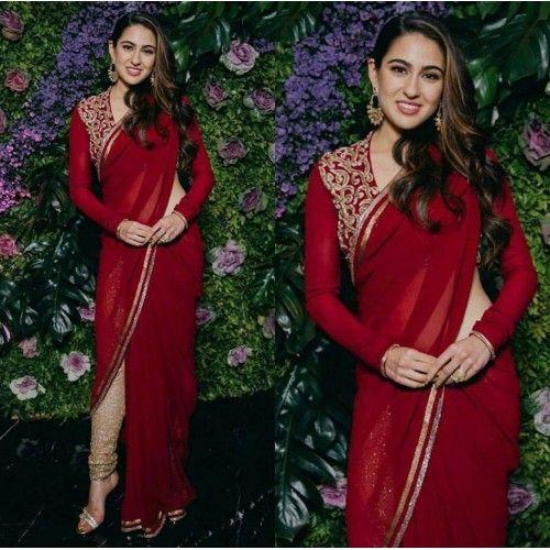 Sara ali khan beautiful red stylist saree with chudidar bottom | Stylish sarees, Fashion, Saree designs